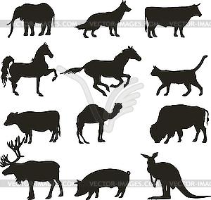 Silhouetten von Tieren - Vektor-Klipart