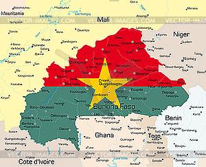 Landkarte von Burkina Faso - Vector-Illustration