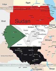 Landkarte von Sudan - vektorisiertes Clipart