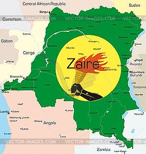 Zaire - farbige Vektorgrafik