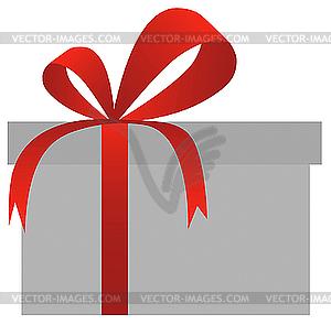 Geschenkbox mit rotem Band - vektorisiertes Clipart