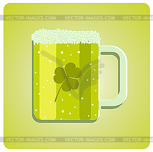 Grün Bierglas mit Klee - Vektor-Clipart / Vektorgrafik
