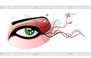 Grünes Auge und durchbohrte Augenbraue - vektorisierte Abbildung