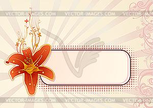 Horizontales Getäfel für Text mit Orchidee - Vektor-Clipart EPS