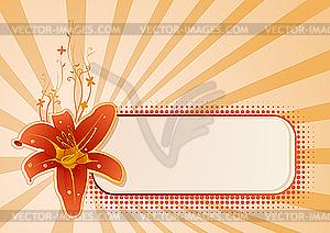 Horizontales Getäfel für Text mit Orchidee - Vector Clip Art