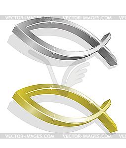 Goldenes und silbernes Ichthys - Vektor Clip Art