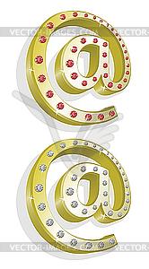 Zwei goldene E-Mail-Zeichen - Vector-Bild