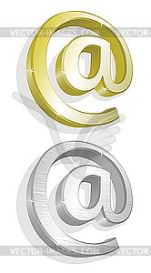 Zwei goldene E-Mail-Zeichen - Vektorgrafik