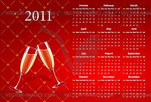Roter Kalender 2011 mit Champagner - Vector-Design