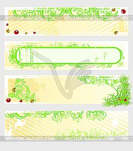 Gelbe-grüne Grunge-Werbebanners - Vektor-Clipart EPS