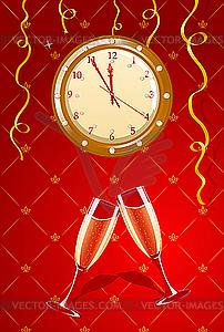 Neujahr-Uhr und Champagner - Vektor-Clipart / Vektorgrafik