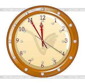 Uhr mit Diamanten - farbige Vektorgrafik
