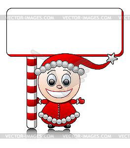 Mädchen als Weihnachtsmann-Helfer mit Schild - vektorisierte Abbildung