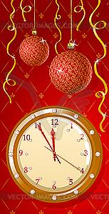 Grusskarte mit Uhr - Vector-Clipart