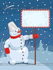 Weihnachts-Grußkarte mit Schneemann - farbige Vektorgrafik