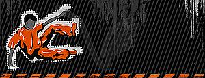 Grunge-Banner mit springendem Junge - Vektor-Design