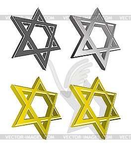 Reihe von jüdischer Sterne - farbige Vektorgrafik