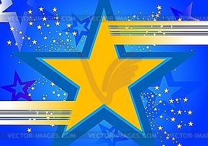 Blauer Hintergrund mit gelbem Stern - Vektor-Illustration