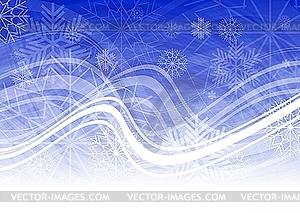 Blaue Weihnachtskarte mit Schneeflocken - Stock Vektorgrafik