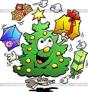 Weihnachtsbaum jongliert mit Geschenken - Vector-Clipart / Vektorgrafik