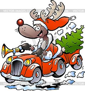 Weihnachts-Rentier und Auto - Vektor-Illustration