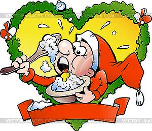 Elf ißt Milchreis - Vector-Abbildung