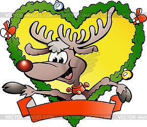 Glückliches Weihnachtsrotwild - Royalty-Free Clipart