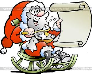 Weihnachtsmann schaut auf Wunschliste - Vektor-Klipart