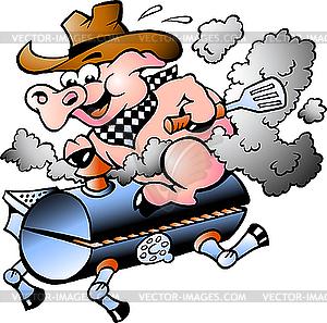 Schwein reitet auf einem Barbeque-Kohlenbecken - vektorisiertes Clipart