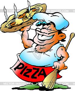 Chefkoch mit einer riesigen Pizza - vektorisiertes Clip-Art