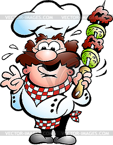 Chefkoch mit Kebab-Spieß - Royalty-Free Clipart
