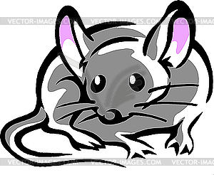 Maus mit großen rosa Ohren - Stock-Clipart