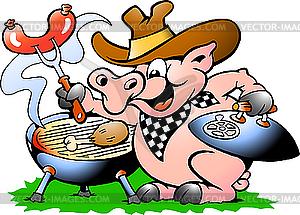 Schwein macht Barbeque - Vektor-Bild