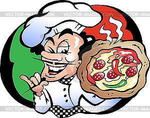 Italienischer Küchenchef mit Pizza - Vector-Clipart