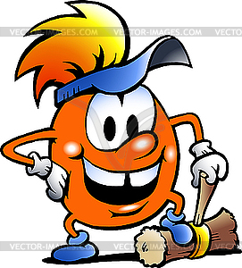 Orangefarbener Goblin mit großem Hammer - Vektor-Klipart
