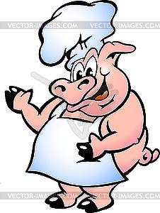 Schwein-Chefkoch mit Schürze - farbige Vektorgrafik