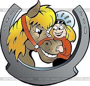 Reiter und Pferd - Stock Vektor-Bild