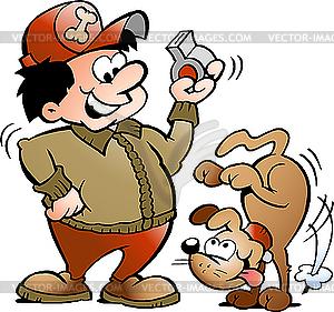 Hund und Trainer - Stock Vektor-Bild