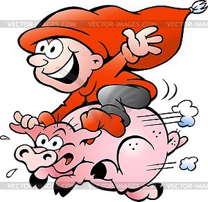 Hand gezeichnet elf Reiten auf Schweine - Vektor-Bild