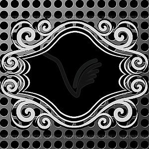 Ornamentaler Rahmen auf Metall-Textur - Vector-Illustration