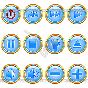 Set von goldenen Media-Icons - Vector-Clipart