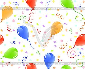 Nahtloser Hintergrund mit Luftballons und Konfetti - Vektor Clip Art