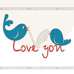 Vögel in Liebe - Stock-Clipart