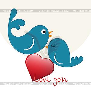 Schöne Vögel in Liebe mit Herz - Vector-Clipart