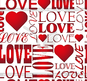 Nahtloses Liebes-Muster mit Herzen - vektorisiertes Clipart