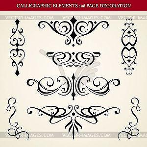 Kalligraphische Design-Elemente - Vector Clip Art