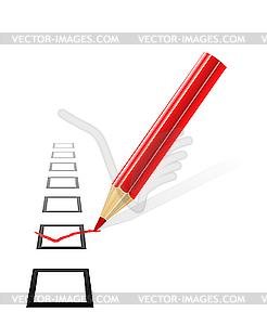 Häkchen und Bleistift - Clipart-Bild
