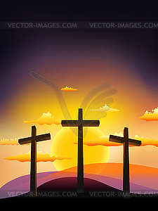 Three crosses on the Calvary at sunset - vector clipart