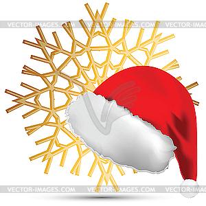 Schneeflocke und Weihnachtsmütze - Vektorgrafik