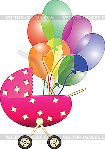 Kinderwagen und Luftballons - Vector-Clipart